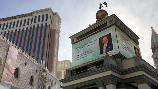 signs at the venetian las vegas display a tribute to las vegas sands corp. chairman and ceo sheldon adelson on january 12, 2021 in las vegas, nevada.... - the palazzo las vegas stock videos & royalty-free footage