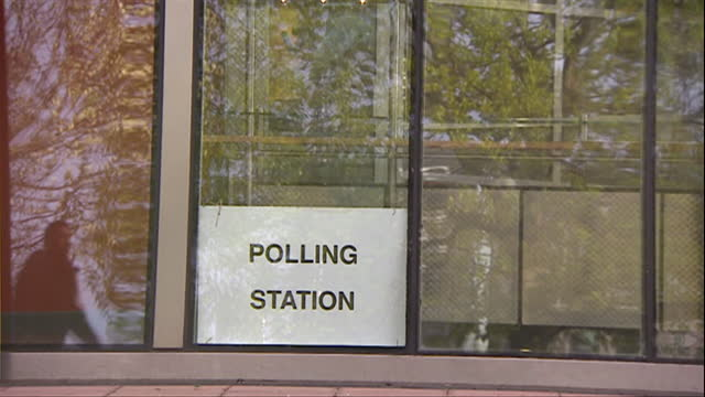 signs for polling stations in england in preparation for the local elections - information medium stock videos & royalty-free footage