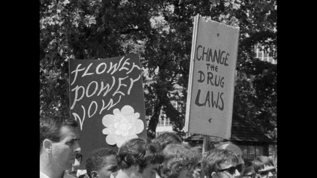 signs in favour of drug legalisation at hippy rally, london; 1967 - medium shot stock videos & royalty-free footage