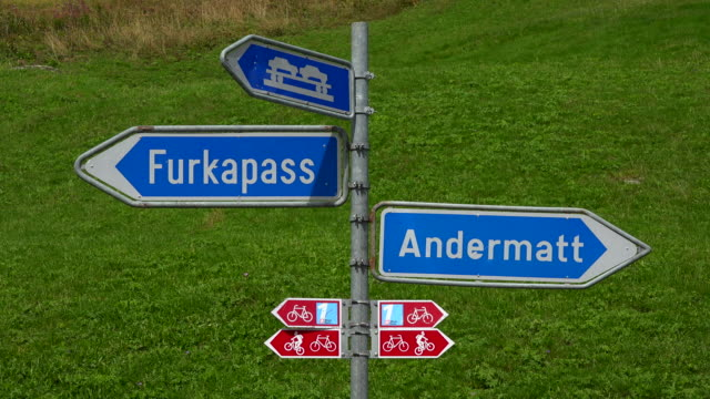 Signs in Realp, Canton Uri, Switzerland, Europe