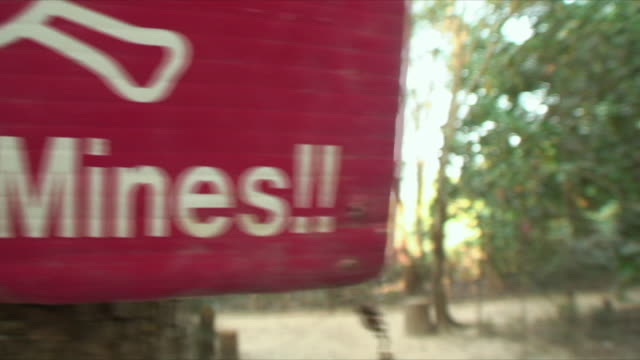 cu signs in woods warning of mines, siem reap, cambodia - baumgruppe stock-videos und b-roll-filmmaterial