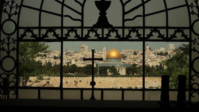 標識のキリスト教とイスラム、エルサレムの街並み - パレスチナ自治区点の映像素材/bロール