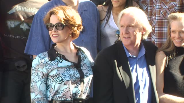 sigourney weaver and james cameron at the james cameron honored with a star on the hollywood walk of fame at hollywood ca - sigourney weaver stock videos & royalty-free footage
