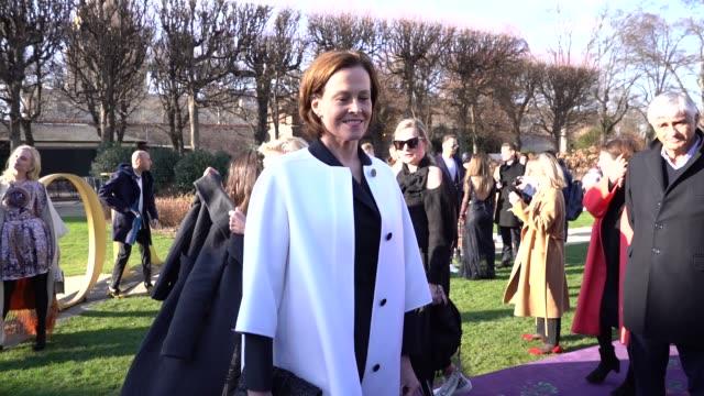 slomo sigourney weaver at paris fashion week haute couture spring/summer 2020 dior on january 20 2020 in paris france - sigourney weaver stock videos & royalty-free footage