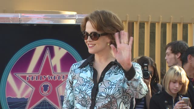 sigourney weaver at the james cameron honored with a star on the hollywood walk of fame at hollywood ca - sigourney weaver stock videos & royalty-free footage