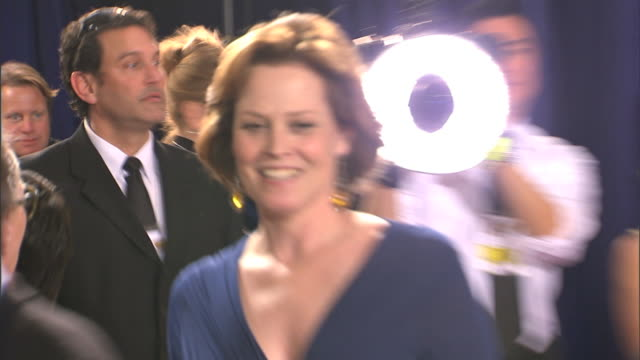 cu sigourney weaver speaking to unseen person as she moves along - sigourney weaver stock videos & royalty-free footage