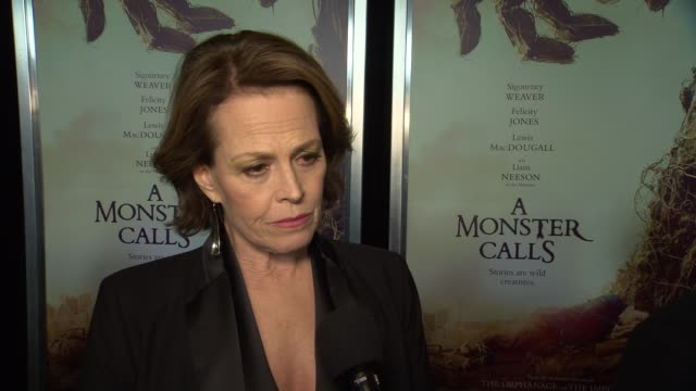 interview sigourney weaver talks about preparing for her role and what she takes away from the film at a monster calls new york premiere presented by... - amc loews stock videos and b-roll footage