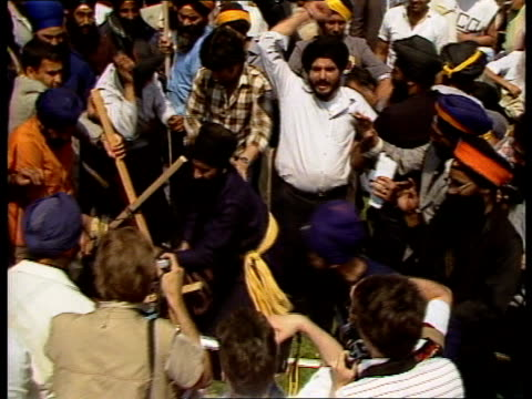 england london hyde park ms banner 'we want blood for blood' pull out rally in hyde park ts effigy of indira gandhi indian pm ts sikhs attack effigy... - 1984 stock videos & royalty-free footage
