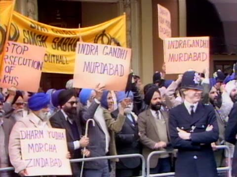 Sikh's protest outside the Indian High Commission in London following the Indian army storming the Golden Temple at Amritsar
