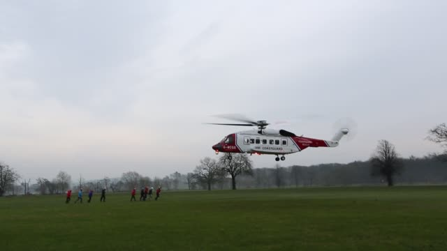 sikorsky s92 helicopter operated by bristows training with mountain rescue teams at carlton hall in penrith, cumbria, uk. - machine part stock videos & royalty-free footage