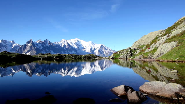 silence over lac blanc in the french alps - european alps stock videos & royalty-free footage