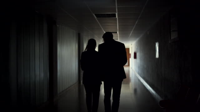 silhouete of detectives walking - esplorazione video stock e b–roll