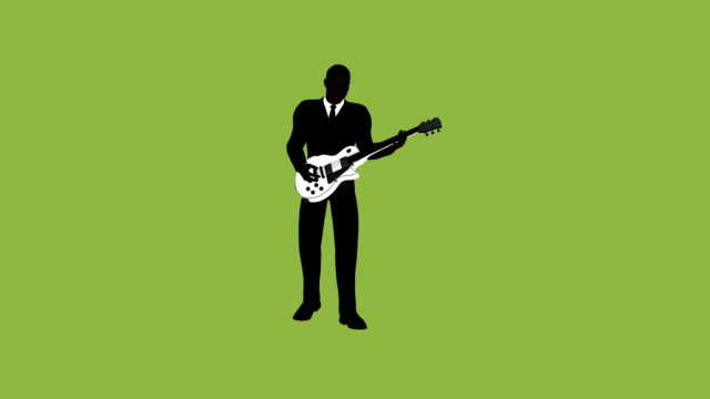 silhouette businessman rockstar guitar animation - rocking stock videos & royalty-free footage