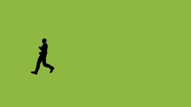 vídeos de stock e filmes b-roll de silhouette businessman running animation - personas