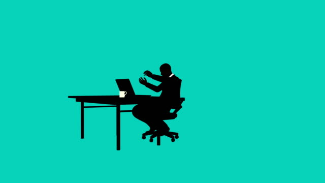 silhouette businessman upset at desk animation - illustration stock videos & royalty-free footage