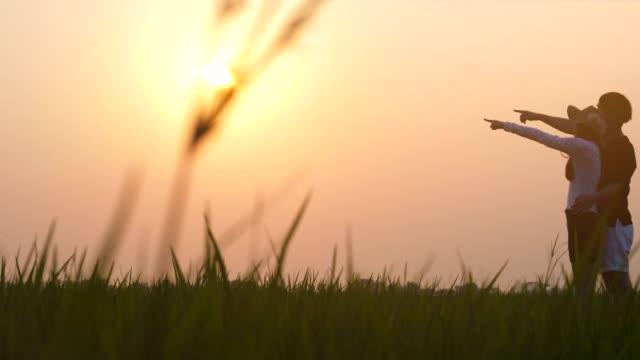 stockvideo's en b-roll-footage met silhouet paar buiten zonsondergang - zonnejurk