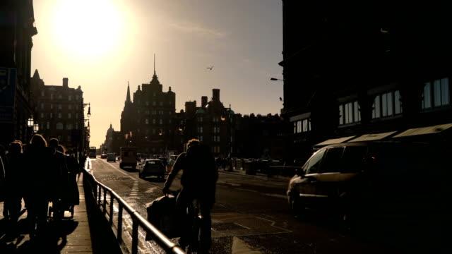 Silhouette Edinburgh city in the morning