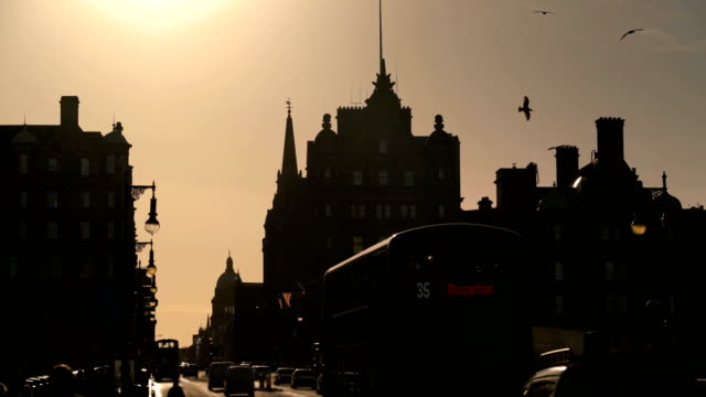 silhouette edinburgh city in the morning - city break stock videos & royalty-free footage