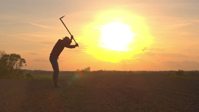 ms silhouette farmer using hoe in rural plowed field - produttore video stock e b–roll