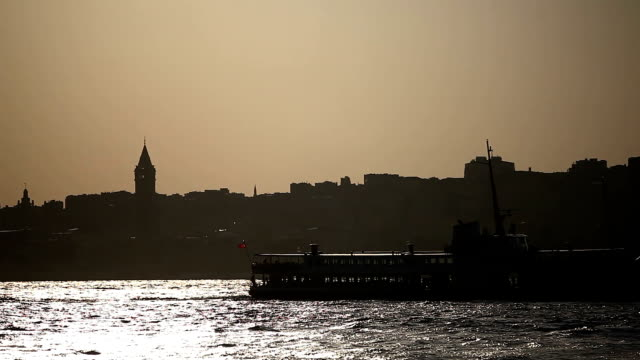 silhouette galata tower hd - ancient stock videos & royalty-free footage