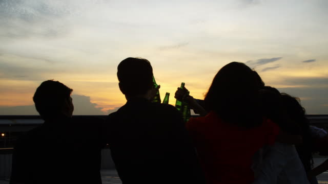silhouette group of friends enjoying party and throwing confetti. friends having fun at rooftop party.group of friends at club having fun. new year's party - balcone video stock e b–roll