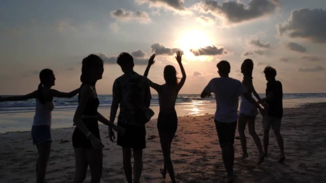 silhouette group of friends having fun on the beach.happy smiling friends walking seaside sea ocean holiday travel.vacations - istock - back lit stock videos & royalty-free footage