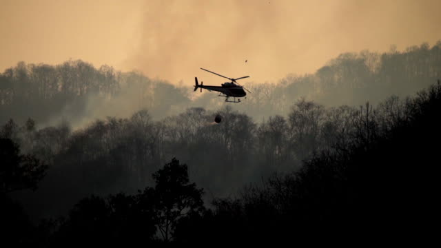 vídeos de stock e filmes b-roll de silhouette helicopter with firefighters throwing water to fire in the wildfire forest - bombeiro
