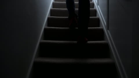 silhouette man walking upstairs at night. 1. - staircase stock videos & royalty-free footage