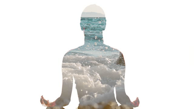 ws silhouette meditating against a background of the waves hits on the beach - lotus position stock videos & royalty-free footage