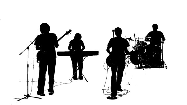 silhouette of a band singing together - performance group stock videos and b-roll footage