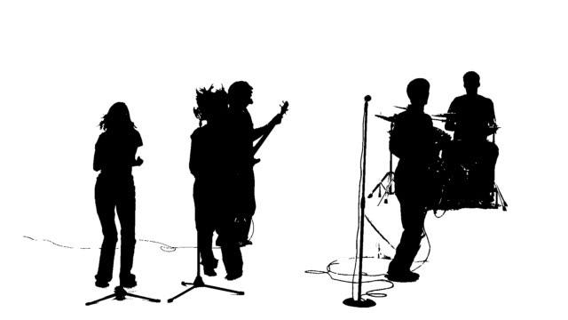 Silhouette von einem band werfen Hände
