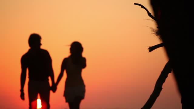 vidéos et rushes de silhouette of a couple walking at sunset - fondu d'ouverture