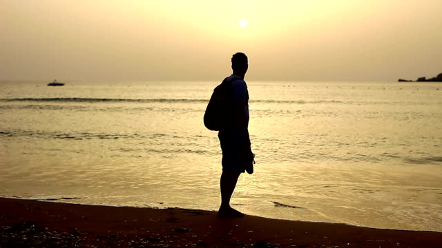 silhouette of a hiker walking on the beach at sunset - water's edge stock videos & royalty-free footage