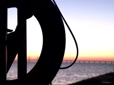 Silhouette of a lifebuoy by the sea Sweden.