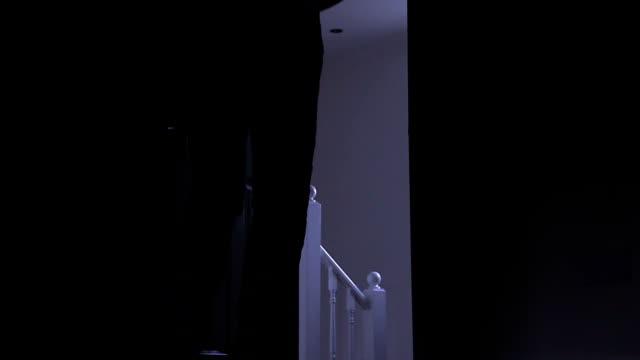 vídeos de stock, filmes e b-roll de silhueta de um homem deixando quarto escuro, da esquerda para a direita. - ir embora