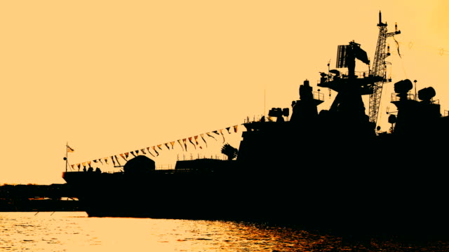 silhouette of a modern warship - navy stock videos & royalty-free footage