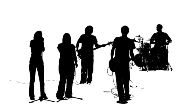 silhouette of a praise band - rock object stock videos and b-roll footage