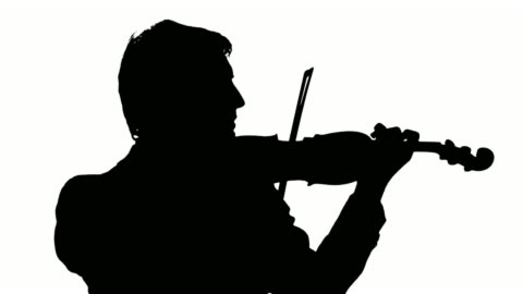 hd: silhouette of a violinist - violin stock videos & royalty-free footage