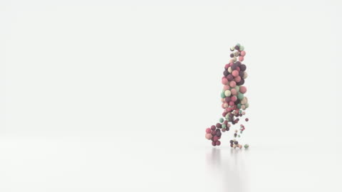 silhouette of a walking man consisting of colored balls of different sizes. - bouncing stock videos & royalty-free footage