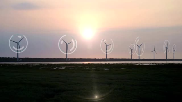 silhouette of a wind turbine for renewable electric power maker with hud - turbine stock videos & royalty-free footage
