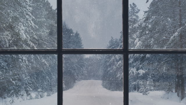 vídeos de stock e filmes b-roll de silhouette of a wooden window overlooking the winter forest. beautiful winter landscape with falling snow. - parado
