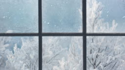 Silhouette of a wooden window overlooking the winter forest. Beautiful winter landscape with falling snow