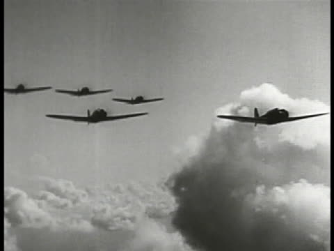 silhouette of aircraft in flight td bombs dropping shaky aerial bombs hitting targets on ground exploding near aircraft hangars - 真珠湾攻撃点の映像素材/bロール