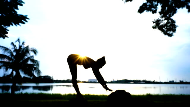 silhouette of asian sexy woman workout yoga and pilates , sunset and sunrise sky - deltoid stock videos & royalty-free footage