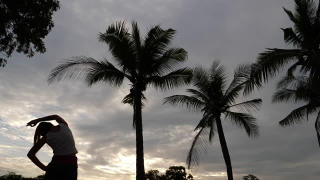 silhouette der asiatin stretching im öffentlichen park - lehnend stock-videos und b-roll-filmmaterial