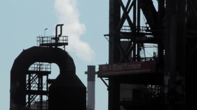 MS Silhouette of blast furnace / Port Talbot, Glamorgan, Wales, UK