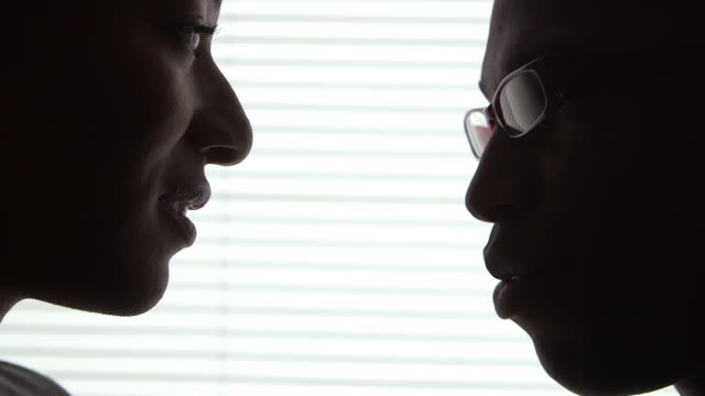 silhouette of business coworkers having discussion in front of window - 談笑する点の映像素材/bロール
