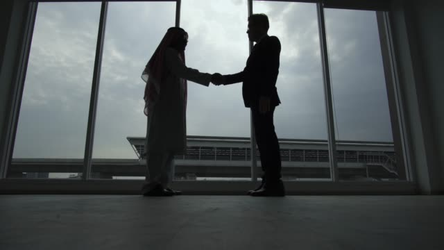vídeos de stock e filmes b-roll de silhouette of business partner shaking hands - arábia saudita