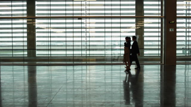 vídeos y material grabado en eventos de stock de ws silhouette of businessman and businesswoman crossing airport terminal / toulouse, haute-garonne, france - silueta