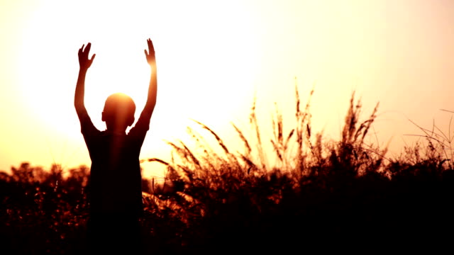 silhouette of child playing in the nature - developing countries stock videos & royalty-free footage